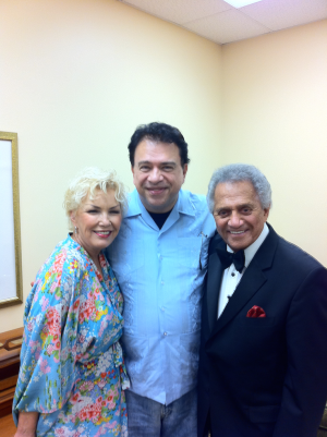 Buddy Greco and his talented, lovely wife, Lezlie Anders rehearse with the Paul Vesco Orchestra