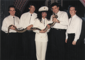 Here's Paul with LaToya Jackson trying to avoid being bitten by a very big snake