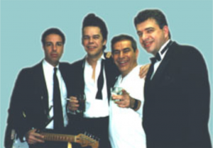 Funnyman Freddie Roman, Buster Poindexter, Tom Cantone and Paul getting ready for the show